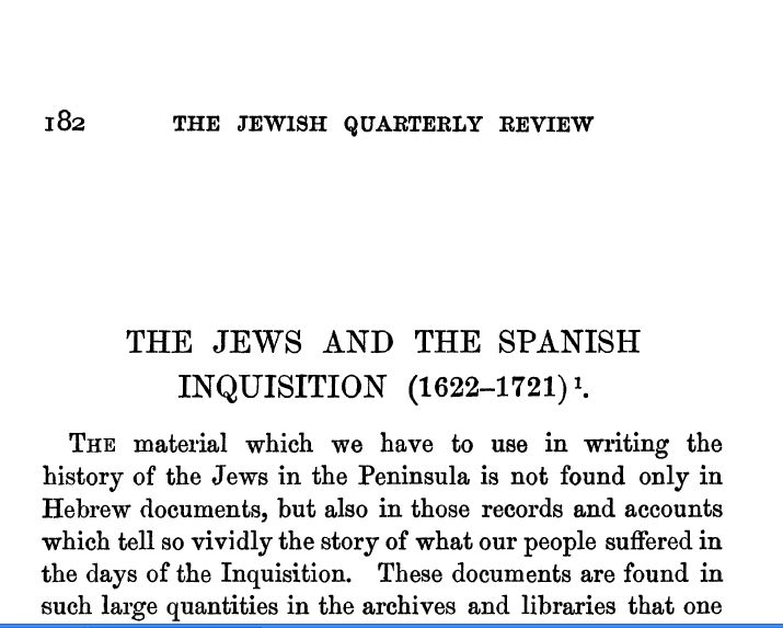 The Jews and the Spanish Inquisition (1622-1721)